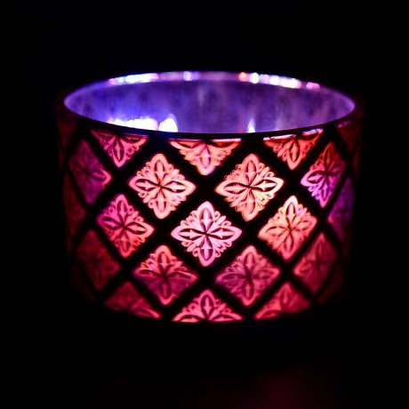 Red Shadowfire Triple Wick Lit View