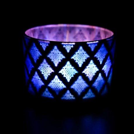 Blue Shadowfire Triple Wick Lit View